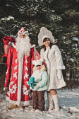 Ded Moroz and Snegurochka with gifts 1460. — Stock Photo