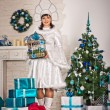 The girl in the New Years dress with gifts 1508. — Stock Photo #60946099