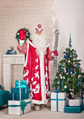 The young man in a festive suit with a staff 1512. — Stock Photo