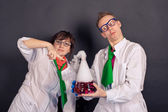 Entertaining chemistry and mad scientists 1540. — Stock Photo