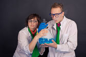 Entertaining chemistry and mad scientists 1558. — Stock Photo