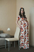 The pregnant girl in a dress 2128. — Stock Photo