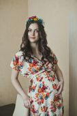 The pregnant girl in a dress 2129. — Stock Photo