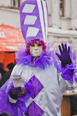 The mime in a violet suit 2205. — Stockfoto