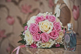 Bunch of flowers from roses on a table 2377. — Stock Photo