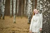 The girl has leant against a birch 2638. — Stock Photo