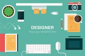 Designer desk header — Stock Vector