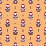 Russian doll matreshka seamless pattern — Stock Vector #62503917