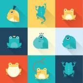 Frog characters flat — Stock Vector