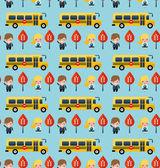 Bus and school children pattern — Stock Vector