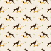 Dachshund and doberman dog pattern — Stock Vector