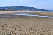 Sand beach in Deauville — Stock Photo
