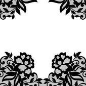 Black flower lace ornament. — Stock Vector