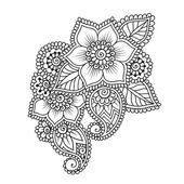 Handritade abstrakt Henna Mehndi blomma Ornament — Stockvektor