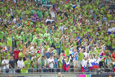 Slovenia supporters — Stock Photo