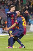 Leo Messi goal celebration — Stock Photo