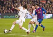Alvaro Arbeloa and Leo Messi — Stock Photo