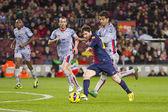 Lionel Messi scoring a goal — Stock Photo