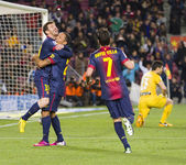 Goal celebration Leo Messi — Stock Photo