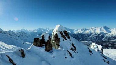 Overlooking snow mountains — Stock Video