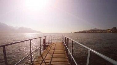 Pier bridge at lake — Stock Video