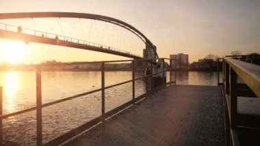 River bridge background. — Stock Video