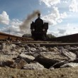 Black steam locomotive — Stock Video #60050831