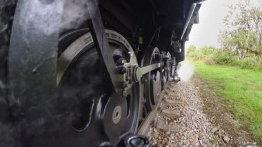 Smoking steam engine train. — Stock Video