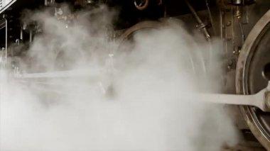 Smoking steam engine train. — Stockvideo
