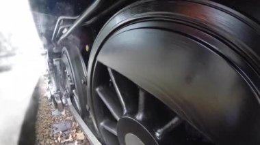 Trem do motor a vapor de fumar. — Vídeo stock