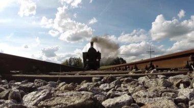 Black steam locomotive — Stock Video