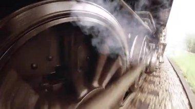 Smoking steam engine train. — Stock Video