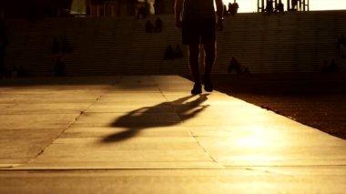 Silhouette of walking man — Stock Video