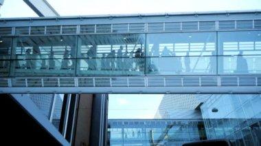 Modern glass hallway. — Stockvideo