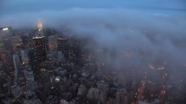 Skyline van new york nachts — Stockvideo