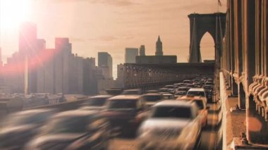 Traffic jam time lapse at sunset nyc — Stock Video