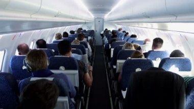 Passengers sitting in plane — Stock Video