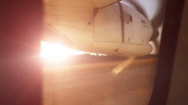 Turbine aircraft out of the window — Stockvideo