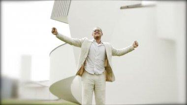 Businessman enjoying business success — Stock Video