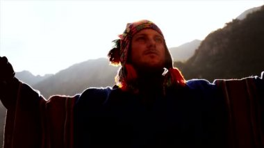 Young caucasian man making energetic spiritual mediating ceremony — Stock Video