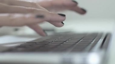 Female hands typing on keyboard — Stock Video