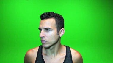 Handsome man facing camera — Stock Video
