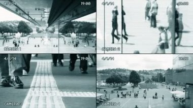 Surveillance of people walking — Stockvideo