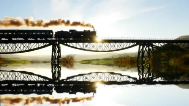 Water reflection of locomotive crossing bridge — Stock Video