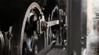 Steam engine train wheels — Vídeo stock