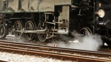 Train driving on railroad track — Stockvideo