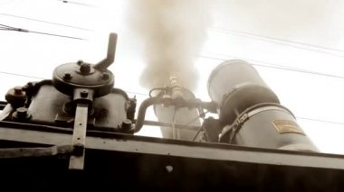 Smoking steam train locomotive — Stock Video