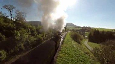 Steam train at sunshine — Stock Video