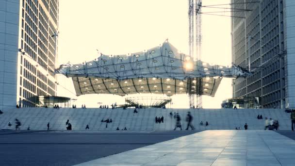 Arquitectura moderna al atardecer — Vídeo de stock