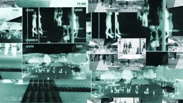 Surveillance of people walking — Vídeo de stock